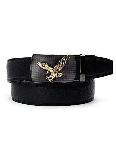 NYfashion101 Genuine Leather Adjustable Slide Buckle Belt w/Gold-Tone Eagle Black/Gold XL