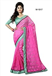 Sk Creation Fantastic Pink Lace Bordered Party Wear Saree