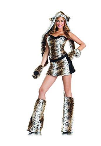 [Adult Women's 6 Piece Sexy Tiger Halloween Party Costume With Hood & Leg Warmers] (Cute Tiger Costumes Women)