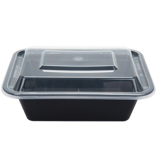 1 Compartment Food Containers with Lids, Microwave Safe, Stackable, Reusable, Lunch Tray, Black Bottom with Clear Cover. 10 PACK (Microwave Cover Pba Free compare prices)