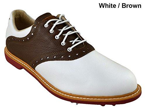 Ashworth Kingston Golf Shoes 2014 White/Tan Brown/Bordeaux Medium 11
