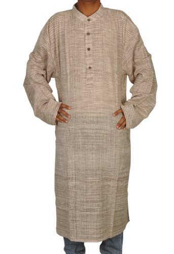 Mens Casual Cotton Khadi Long Kurta Fabric For Winter & Summer Size-6XL