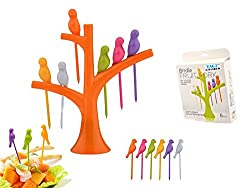 TAG3 (TM) Bird Fruit Forks Tree Shaped Stand Party Utensils With Toothpick Tableware Cooking Tool - 1 Box Set Of 6 Fork