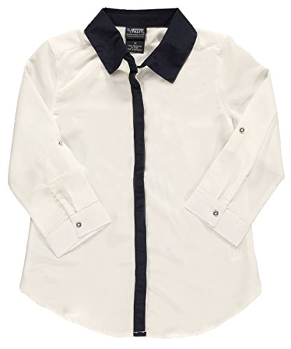 "French Toast Big Girls' ""Contrast Placket"" L/S Blouse - white, 20"