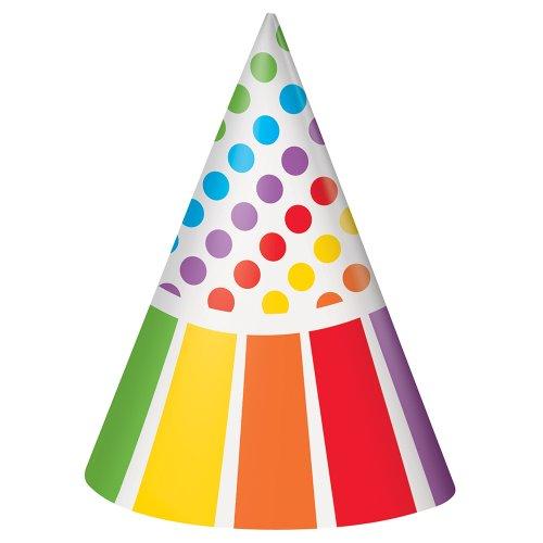 Rainbow Party Hats, 8ct - 1