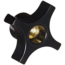 "DimcoGray Black Phenolic 4 Prong Knob Female, Thru Hole Brass Insert: 5/16-18"" Thread x 1/2"" Depth, 1-1/4"" Diameter x 7/8"" Height x 5/8"" Hub Dia x 3/8 Hub Length (Pack of 10)"
