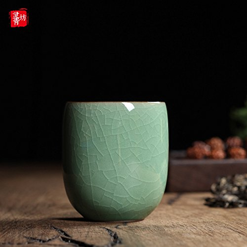 Handmade Celadon Ceramic 5oz Teacups Japanese Style Coffee Cup Porcelain Mugs for Tea and Beer(1, Army Green Cracking)