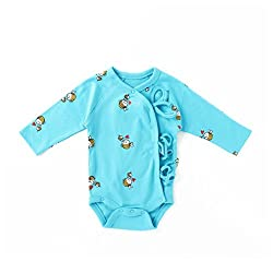 Little Green Kid Organic Cotton Blue Full Sleeve Mama Bee Kimono Romper