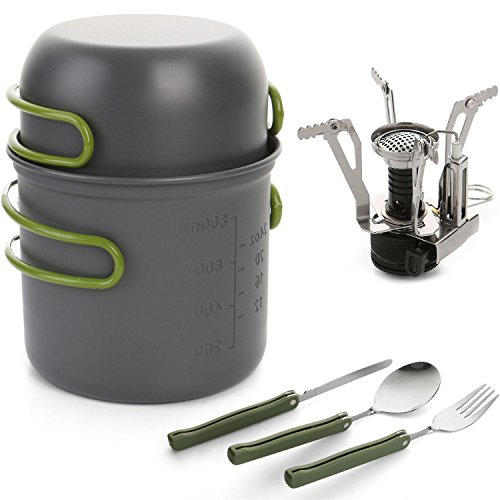ScivoKaval Camping Cookware, Mini Stove with Piezo Ignition, Folding Spork Set, Outdoor Hiking Backpacking Non Stick Cooking set Picnic Bowl Pot and Pan (Cup Stove compare prices)