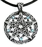Pewter Pentagram Pagan Pendant w/5 Swarovski Crystal Aquamarine March Birthstones, Leather Necklace