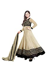 Suchi Fashion Embroidered Beige Georgette Semi Stitched Party Wear Suit