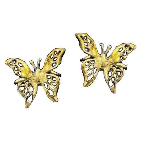 Left And Right Gold Vermeil Pierceless 3D Open Butterfly Ear Cuff