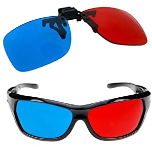 SODIAL(TM) 2x Red and Cyan Glasses Fits over Most Prescription Glasses for 3D Movies, Gaming and TV (1x Clip On ; 1x Anaglyph style)