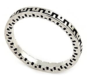 2mm Antiqued Greek Key Pattern Design Stackable Sterling Silver Band Ring, Size 10