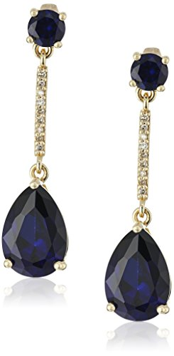 10k-Yellow-Gold-Pear-Shaped-Created-Sapphire-and-Diamond-Accent-Drop-Earrings