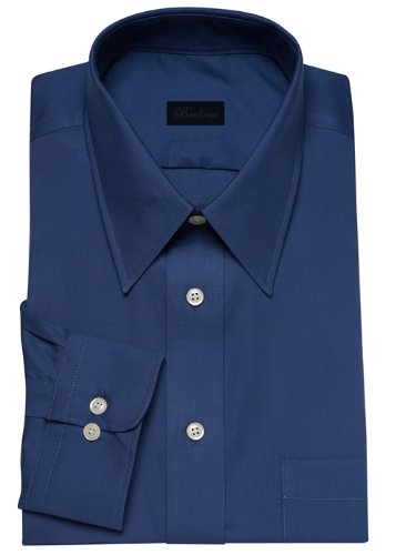 Modern Men's Cotton Business Dress Shirt Wrinkle Free Poplin Long Sleeve Royal Blue