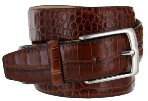 Joseph Italian Leather Alligator Embossed Designer Dress Belt for Men Silver Buckle (36, Brown)