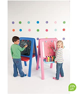 Sturdy plastic easel in blue with chalk-board on one side and wipe-clean white board on the other  With a tray for crayons and paints, and handy clips to hold the paper  Folds flat for easier storage  Art materials available separately  Suitable for ages: 2 yrs +  H: 106 cm, W: 55 cm, D: 69.5 cm