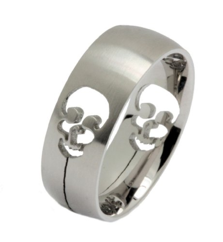 Brushed Stainless Steel cut out Skull Ring Comfort Fit Size 14