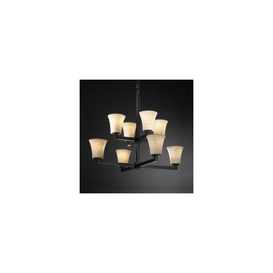 Justice Design POR 8828 15 BMBO DBRZ Modular Eight Light 2 Tier Chandelier, Impression Option Bamboo Shade Impression, Choose Finish Dark Bronze Finish, Choose Lamping Option Standard Lamping