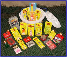 Walleye Bucket - O - Tackle / Fishing Gift Basket
