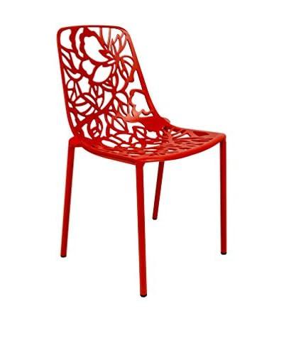 LeisureMod Modern Devon Armless Aluminum Chair, Red