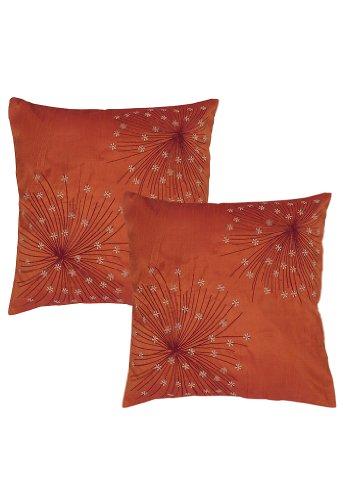 Imagen 2 de Cojín de seda bordada india cubiertas decorativas Tamaño 16 x 16 pulgadas Juego de 2 piezas
