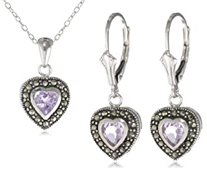 """Sterling Silver Marcasite and Amethyst Heart Pendant, 18"""" and Lever Back Drop Earrings Set"""