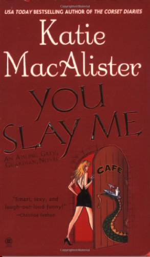 Cover image of the book You Slay Me featuring an image of a woman entering a cafe door