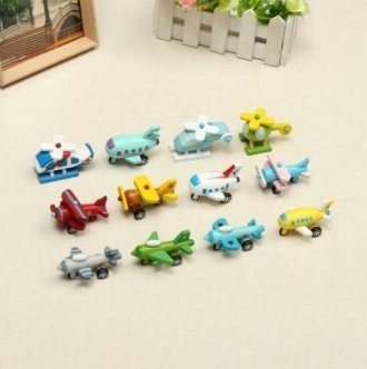 Movable Wooden Aircraft Toys A Set of 12 Cute Wooden Mini Plane Educational Toy by Lovestore2555 (Waldorf Store)