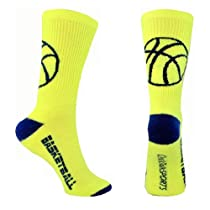 Basketball Half Cushioned Crew Socks - (Neon Yellow, Navy Blue - NAVY BALL)