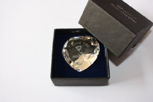 Engraved Clear Crystal Heart,