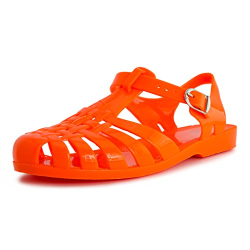 Women Buckle Closure Slingback Sandals Womens Orange 10 (Jelly Bean Sandals For Women compare prices)