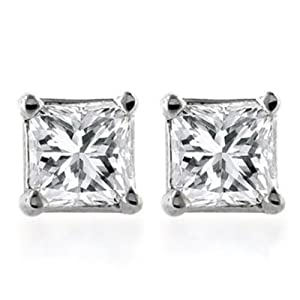 10k Gold, Princess-Cut, Diamond Stud Earrings (1/10 cttw, K Color, I2-I3 Clarity)