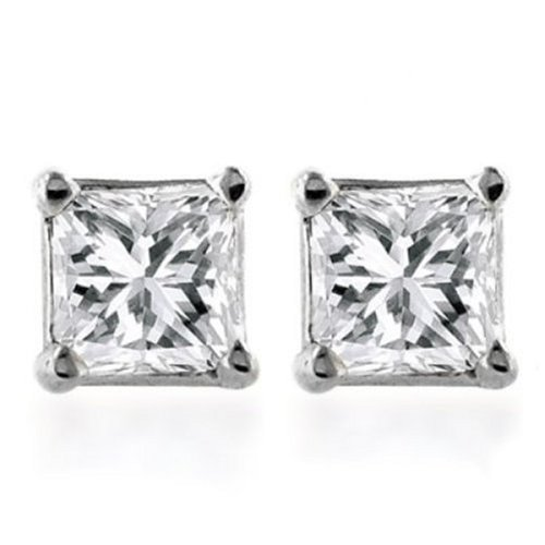 10k Gold Princess-Cut Diamond Studs (1/10 cttw, K Color, I2-I3 Clarity)