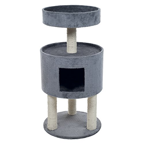 PETMAKER Kitty Cat Condo with Overhead Balcony, Grey
