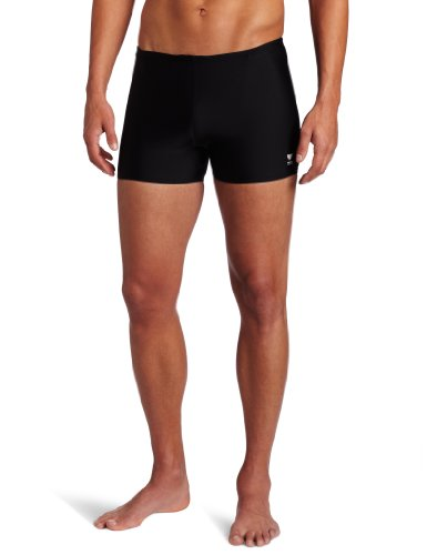 TYR Sport Men's Square Leg Short Swim Suit,Black,36