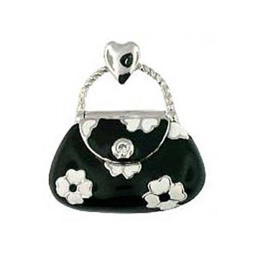 Black & White Flower Purse Charm