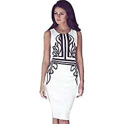 Jaune Asteria White Sheath Dress (Medium)