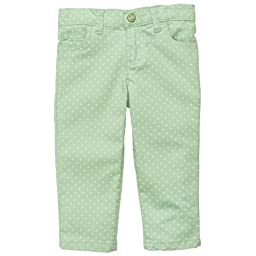 Carter\'s Baby Girls Mini Blues Polka Dot Colored Denim (3M-24M) (6 Months, Green)