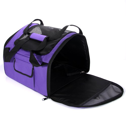 "Masione™ 17"" Purple Portable Foldling Pet Dog Cat House Soft Crate Carrier Cage front-309389"