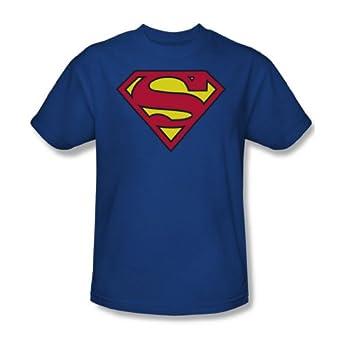 Superman Classic Logo T-shirt (Youth Small (6-8), Blue)