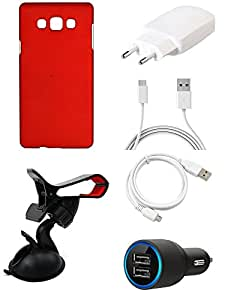 NIROSHA Cover Case Charger USB Cable Mobile Holder car for Samsung Galaxy ON5 - Combo
