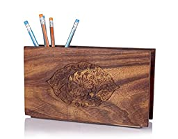 Back To School Store Indya Gifts Rosewood Pen Pencil Stand Holder Men Women with Hand Carved Decorative Floral Patterns, Desk Accessory