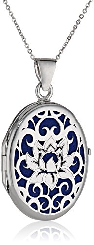 "Sterling Silver Italian Lotus Flower Locket Necklace, 18"""