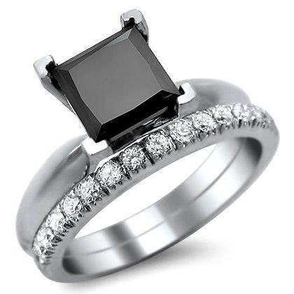 1.90Ct Black Princess Cut Diamond Engagement Ring Bridal Set 14K White Gold With A 1.60Ct Center Diamond And .30Ct Of Surrounding Diamonds