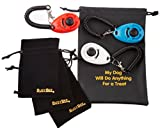 BusyBee Dog Training Clicker with Wrist Band (3 Pack) + 3 Practical Pouches + 1 Dog Treat Bag. Bonus: Training Guide