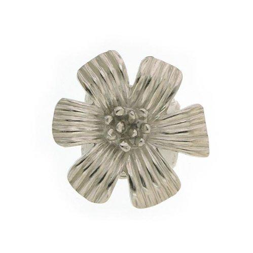 Matte Silver Flower Cocktail Ring