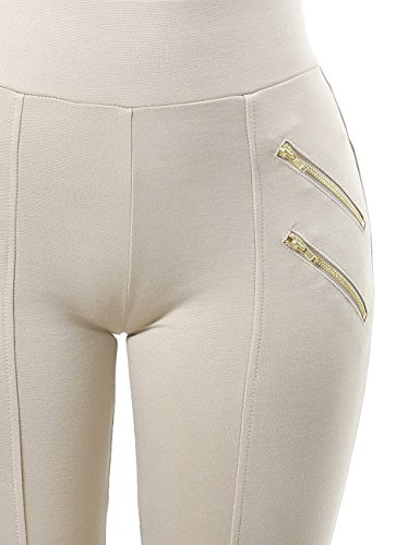 Zipper Design Stretchy and Comfortable Fashion Leggings Pants for Women (LARGE, BEIGE-HP9037)