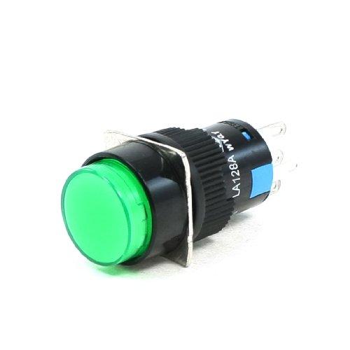 AC 250V 5A SPDT 1NO 1NC 5 Broches Loquet Vert Commutateur Bouton Poussoir avec 220V LED Lampe